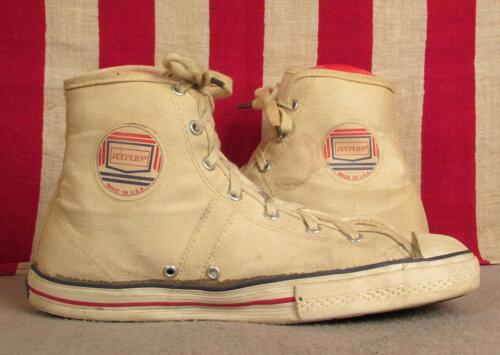 Vintage 1960s Jeepers White Canvas Basketball Snea