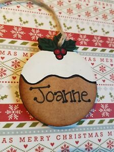 PERSONALISED-HAND-MADE-CHRISTMAS-PUDDING-BAUBLE-WOODEN-ANY-NAME