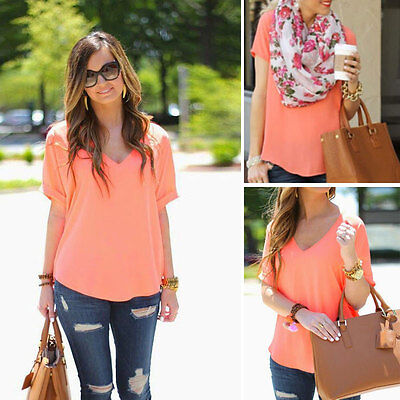 Summer Casual Womens Blouse Short Sleeve Chiffon Shirt Sexy V-Neck T-shirt Tops