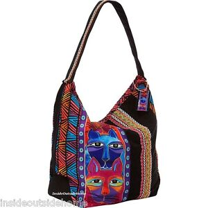 Stacked Whiskered Cats Laurel Burch Medium Canvas Tote Bag