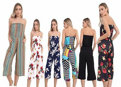 Motiviert Ladies Cullote Off Shoulder Bardoot Printed Playsuit Womens Strappy Jumpsuit üBereinstimmung In Farbe