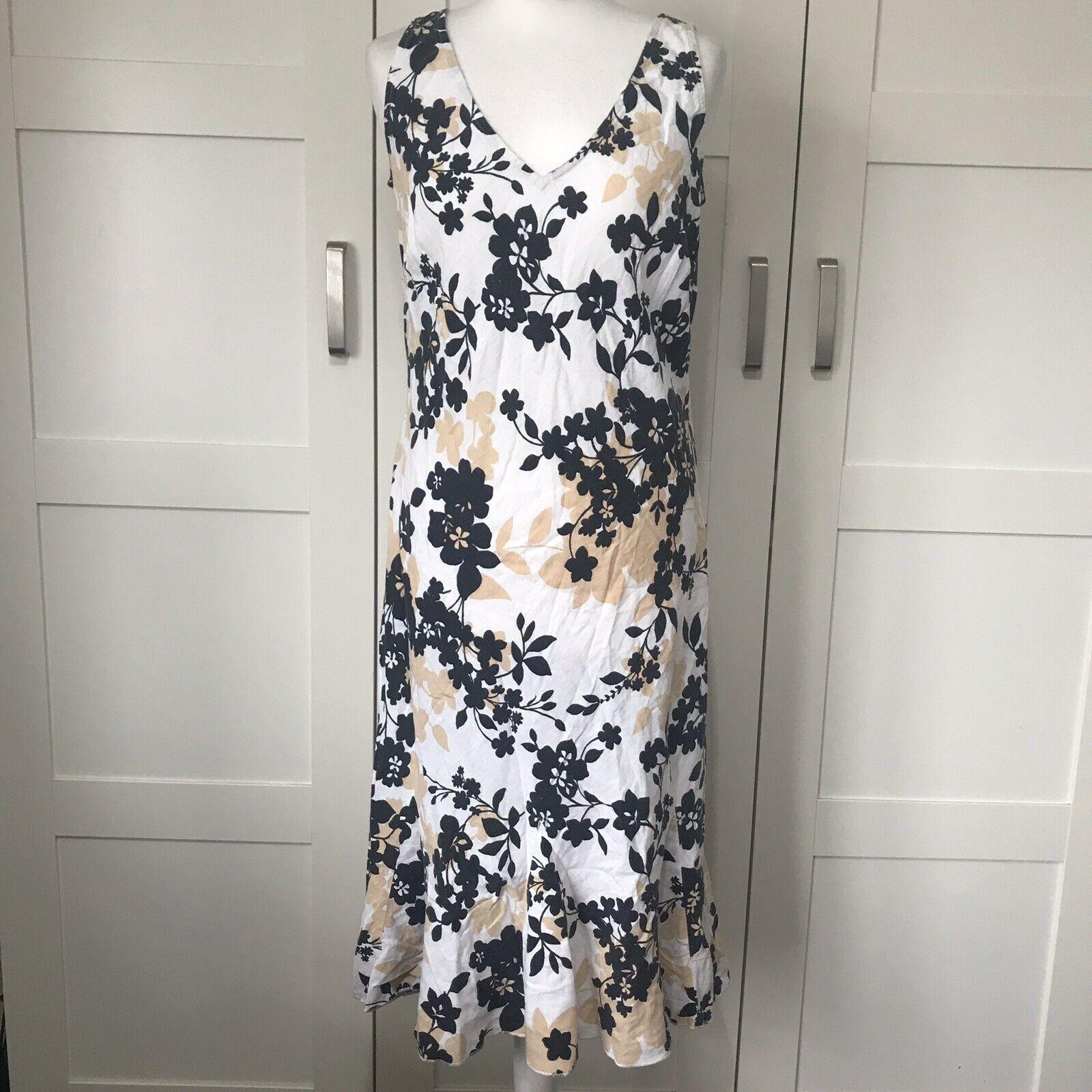 Marks And Spencers Beige Black Midi Dress Floral 16 Linen