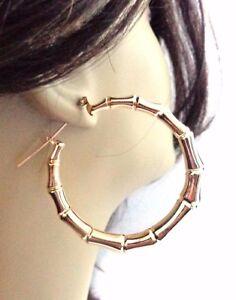 Image Is Loading Gold Br Plated Bamboo Hoop Earrings Full Hoops