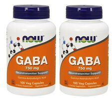Now Foods, GABA, 750 mg, 100 Vcaps, 2 Pack
