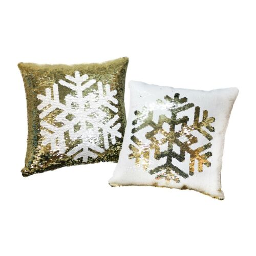 2-Pack Reversible Sequin Christmas Snowflake Square Cushion Covers Pillow Cases