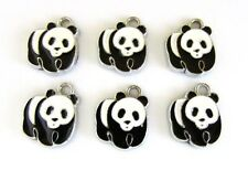 10 Cute Panda Animal Enamel Charm/Silver Plate/Beading/craft/kids/Pendant K161