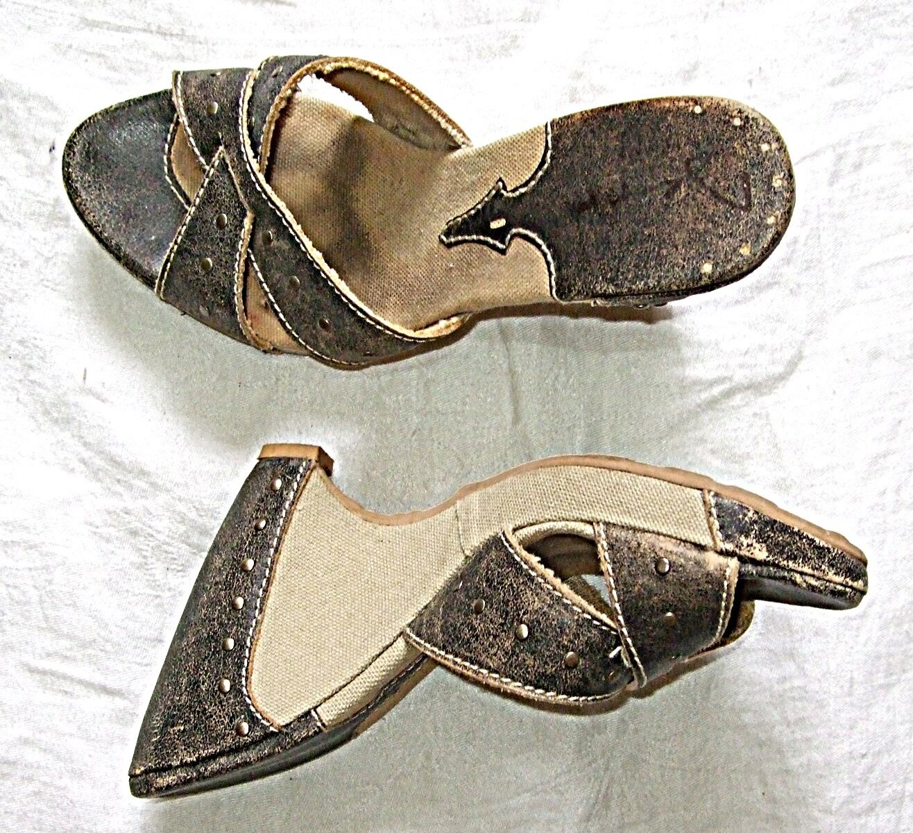 BACKLESS MULE BUFF LEATHER CANVAS STUDS GREY BUFF MULE STEAM PUNK GOTH SHOE WEDGE 6 d5ed09