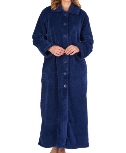 Slenderella Ladies Button Up Dressing Gown Waffle Fleece Ankle Length Bath Robe