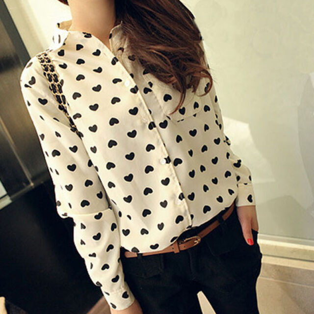 Fashion Women Long Sleeve Shirt Chiffon Lady Love Heart Sweet Blouse Nice