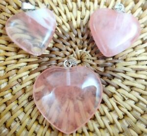 3PC-cherry-quartz-Heart-shaped-pendant-Gem-necklace-earring-Jewelry-Making