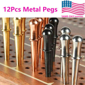 12Pcs Metal Cribbage Board Pegs with Brass Rhinestone Crystal 4 Colors Crib Pegs
