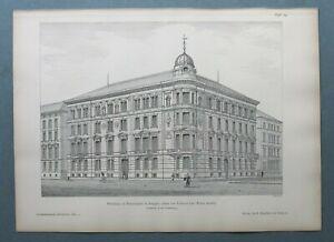 AR85) Architektur Stuttgart 1885 Wohnhaus am Feuerseeplatz Holzstich 28x39cm