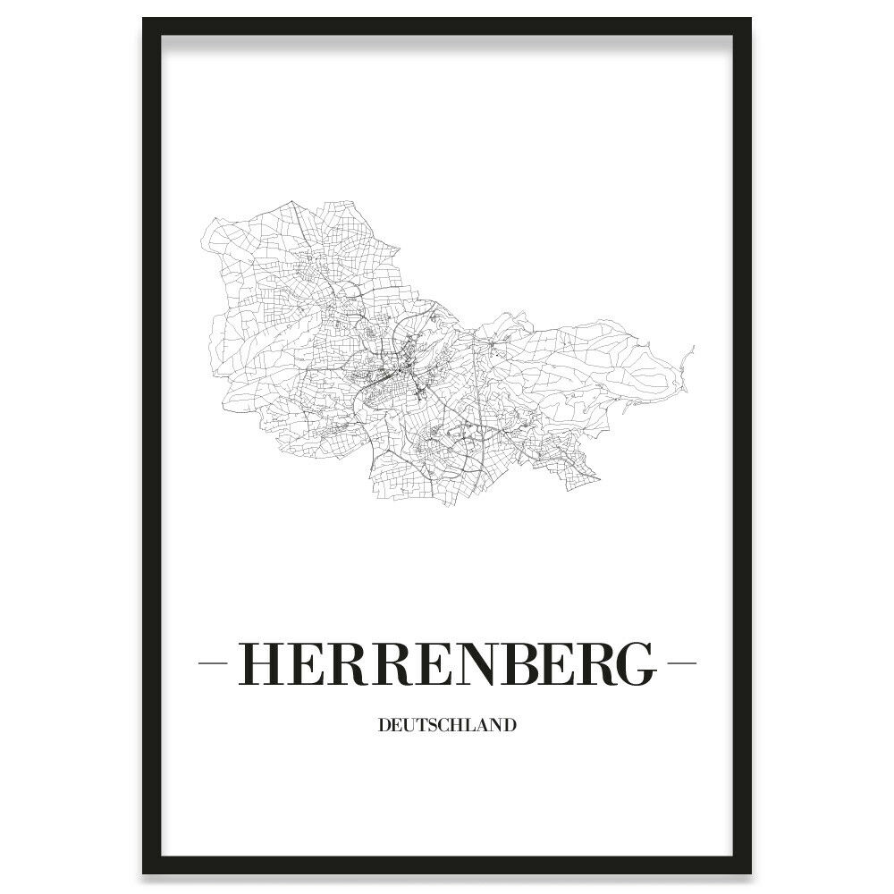 JUNIWORDS Stadtposter, Herrenberg, Weiß, Kunstdruck Plan Map