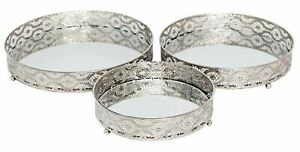 Set-3-Silver-Metal-Mirror-Candle-Plate-Decorative-Tray-Centerpiece-Perfume-Tray