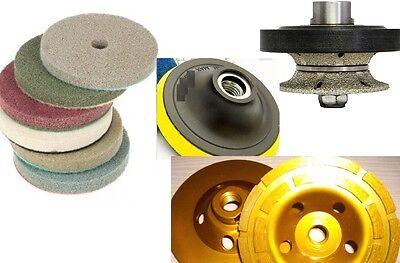 "1 1//2/"" 40mm Full Bullnose Router 4/"" Premium Polishing Pad cup granite concrete"