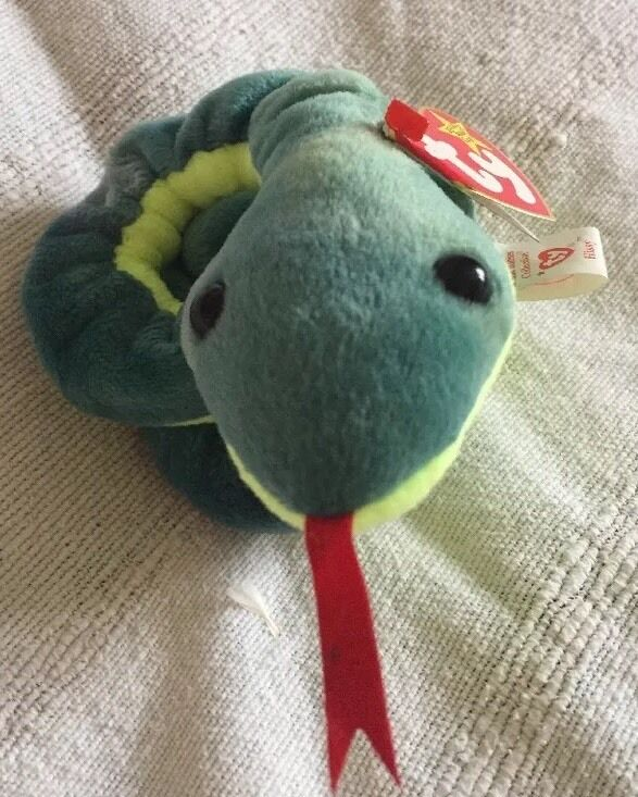 Original Ty Beanie Babies Rare 'Hissy' The Snake With Errors