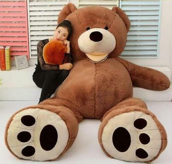 79  SUPER HUGE DARK Marrone BEAR  ONLY COVER  PLUSH TOY SHELL  WITH ZIPPER  200CM