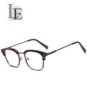 70c9b88464efb LE Korean Wood Grain Glasses Frame Half Myopia Optical Eyewear Rx ...