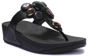 79e23101665 Image is loading Fitflop -Honeybee-Jewelled-Women-Black-Synthetic-Leather-Toe-