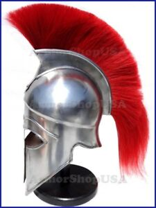 Medieval Greek Corinthian Helmet with Red Plume Crusader Spartan Costume Armor