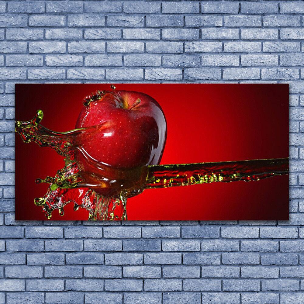 Leinwand-Bilder Wandbild Leinwandbild 140x70 Apfel Wasser Küche