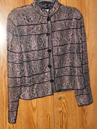 Beaded Farve Heavily Blazer Medium Papell Adrianna eller Jacket Foret Bronze qgWwHtEfP