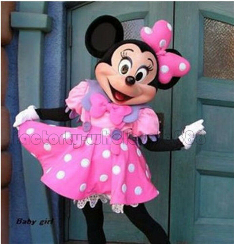 New Pink Minnie Mouse Mascot Costume Fancy Dress Adult Size EPE Free Shipping