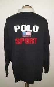 RARE-Vintage-Polo-Sport-USA-Flag-Rugby-Shirt-Pullover-Men-039-s-XL