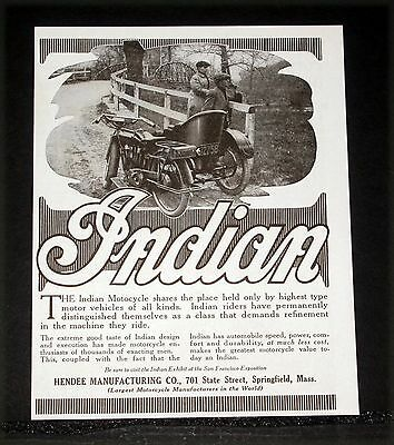 1915 OLD MAGAZINE PRINT AD, INDIAN MOTOCYCLE WITH SIDECAR, DEMAND REFINEMENT!