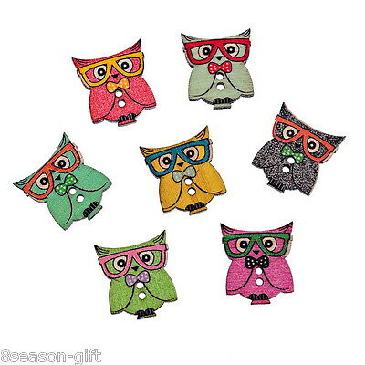 50PCs Mixed 2 Hole Wooden Buttons Owl Pattern Fit Sewing Scrapbook 24.5x21.5mm