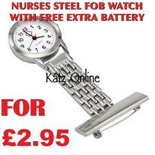 Steel Nurse Watch Medical Brooch Steel Fob Watch Doctor Watch STEEL COLOUR B3