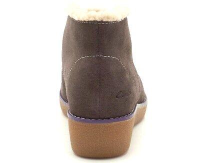 Clarks Mellie Rose Jnr 13 F Fit Girls Dark Grey Suede Fur Trim Wedge Ankle Boots