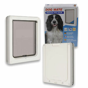 Dog-Mate-Pet-Dog-Door-Flap-Dogs-amp-Cats-Medium-White-215-215W-Flap-size-26-x-22cm