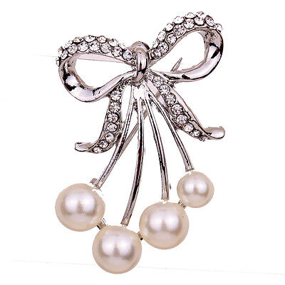 CRYSTAL RHINESTONE WEDDING BRIDAL FLOWER BROOCH PIN PEARL JEWELLERY PARTY  GIFT