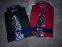 Chaps Boys Long Sleeve, Point Collar With Tie Dress Shirt -red Or Black-$26-nwt
