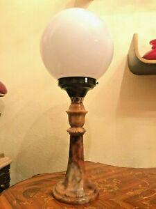 Antique Danois marbre bakelite lampe antique bouche verre soufflé