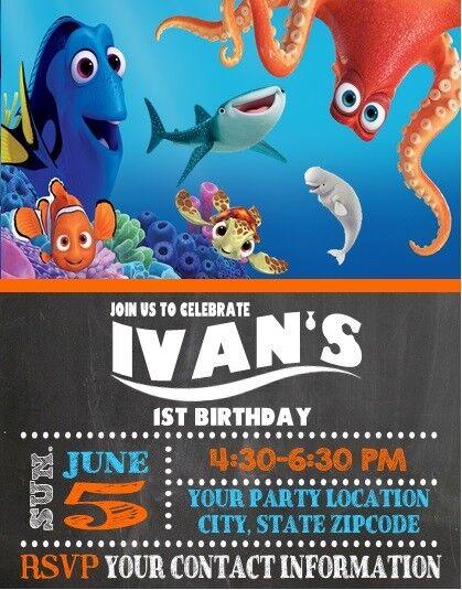 Finding Nemo Dory Birthday Party Invitations Custom Personalized Ebay