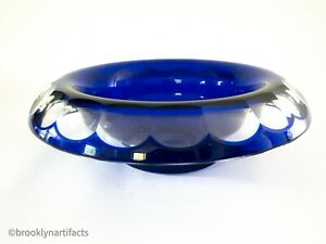 Large-Moser-Blue-Modern-Crystal-Glass-Lipped-Serving-Bowl-Cut-to-Clear