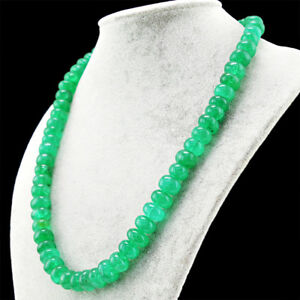 Round-Shape-581-50-Cts-Earth-Mined-20-Inches-Long-Green-Emerald-Beads-Necklace