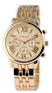 Excellanc-Damenuhr-Gold-Chrono-Look-Analog-Metall-Armbanduhr-Quarz-X151004000013