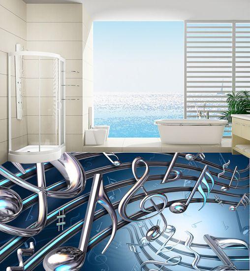 3D bluee Music Notes 241 Floor WallPaper Murals Wall Print Decal 5D AJ WALLPAPER