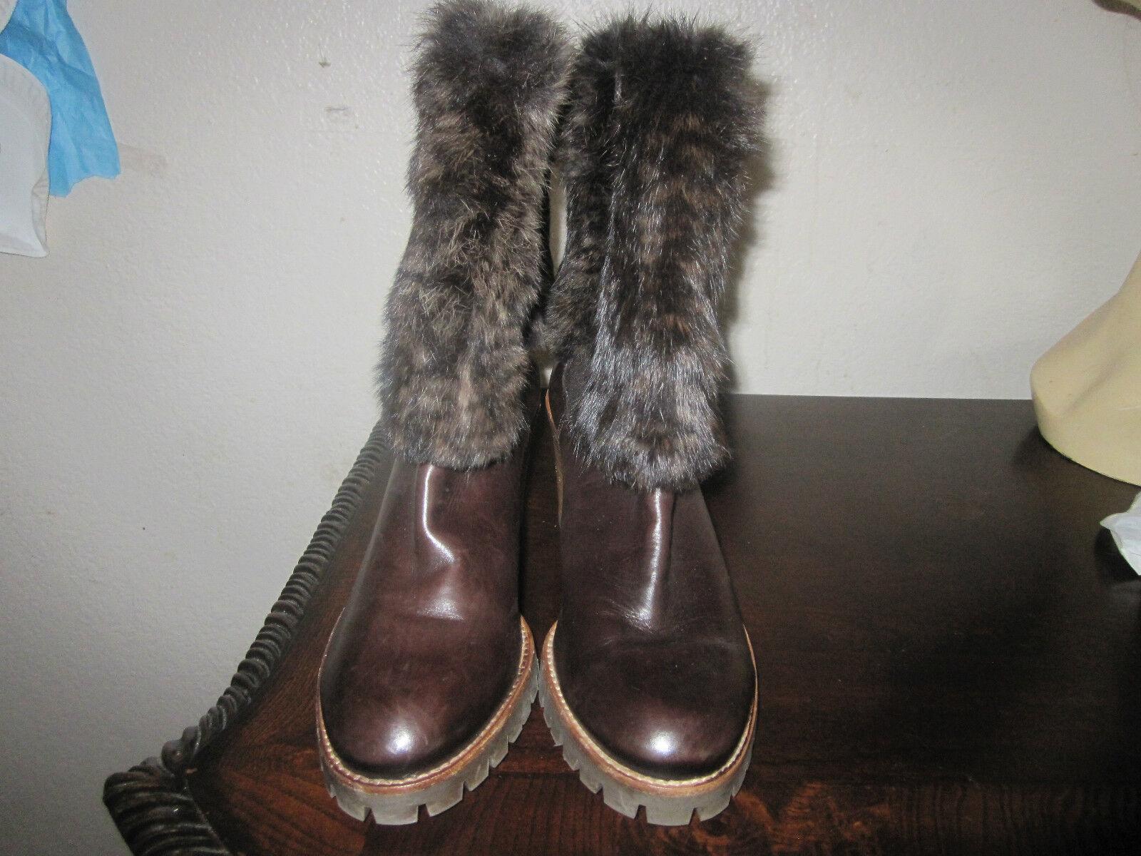 Braun Leder Stiefel with Rabbit Fur in Größe 38 Original Price 530.00