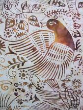 Folkart Folk Art Bird Incense Cream Brown Hoffman Bali Batik Fabric Yard