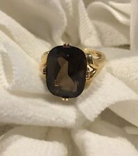 Vintage 14K Yellow Gold Smoky Topaz Solitaire Ring - 5.7 grams, Size 8