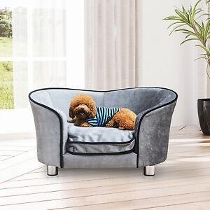 canap lit pour chien chat avec accoudoir et dossier en peluche gris clair ebay. Black Bedroom Furniture Sets. Home Design Ideas