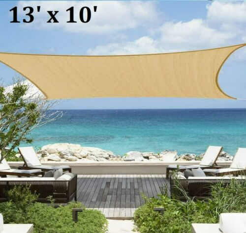 Sun Shade Sail Rectangle 13/' x 10/' Canopy Awning Shelter Fabric Cloth UV Block