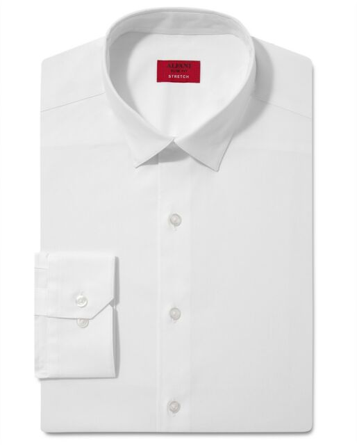 Nwt $95 Alfani Men Slim-Fit Stretch White Long-Sleeve Dress Shirt 15-15.5 32/33
