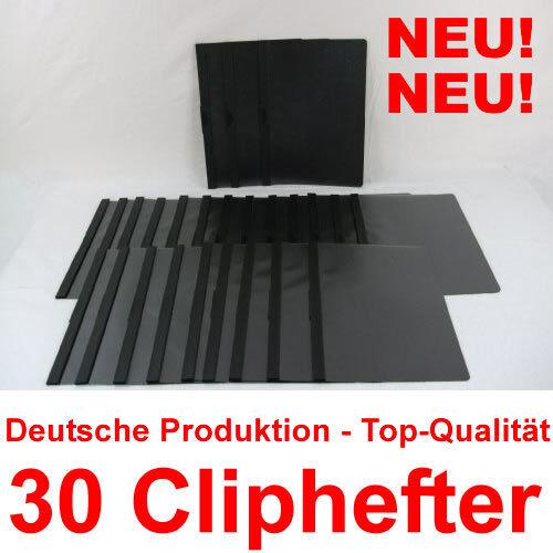 Schwarz 30 Cliphefter Bewerbungsmappen Klemmhefter zum Ordnen /& Sortieren