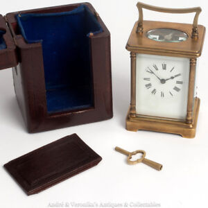 Antique-Brass-Carriage-CLOCK-Victorian-with-travel-case-burgundy-Working-Order