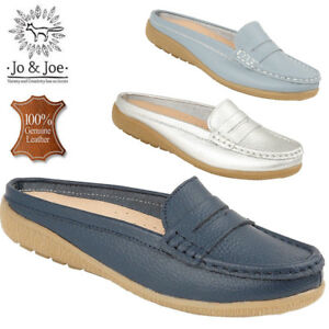 Ladies-100-Leather-Half-Shoes-Loafer-Casual-Office-Work-Flip-Flop-Slip-On-Size